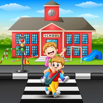 Two boy crossing the road