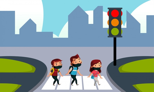 Two boy and girl wear mask crossing the street
