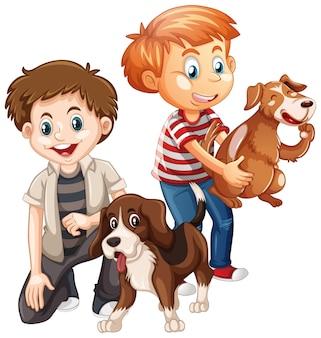 白い背景で隔離の犬と遊ぶ2人の少年