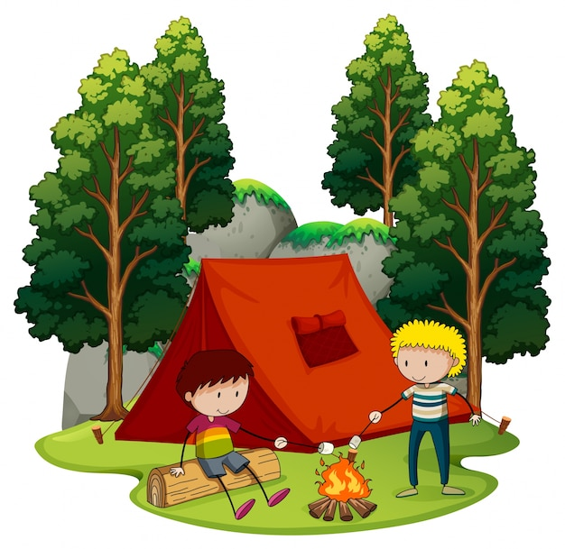 2人の男の子が森にキャンプする