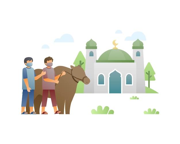 두 소년이 모스크에 소를 전달하여 eid al adha 일러스트레이션을 축하합니다.