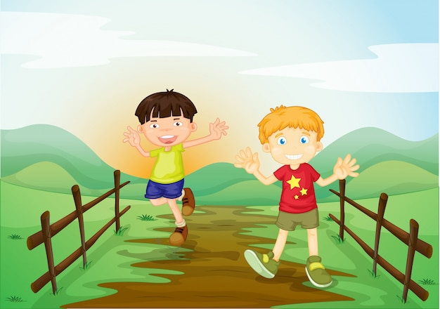 Two boys in the field