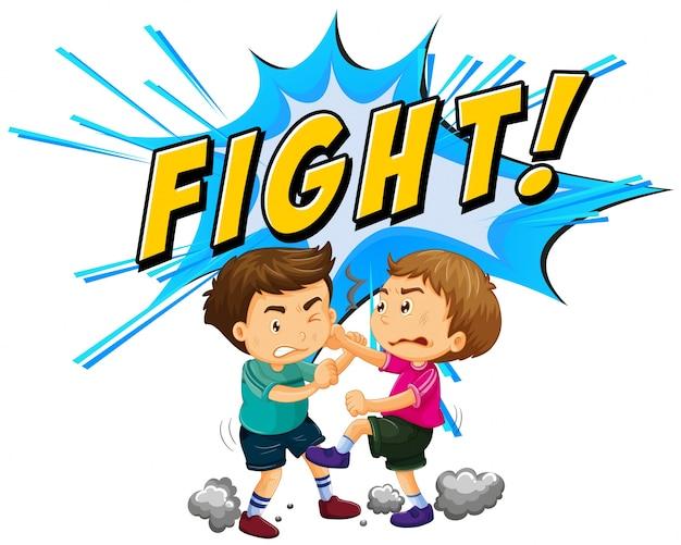 단어 배경으로 싸우는 두 소년