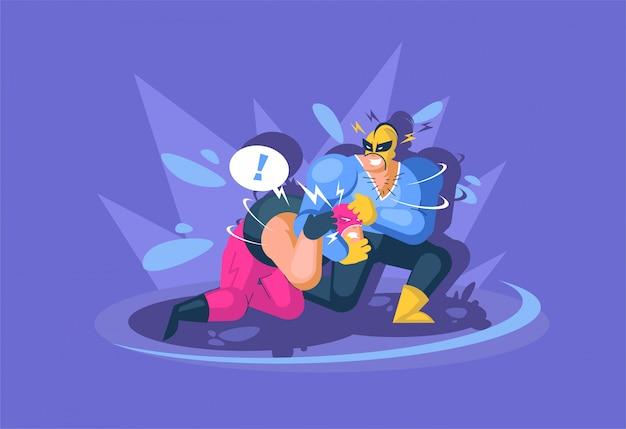 Два мальчика борются в борьбе. мексиканские борцы борца в маске.