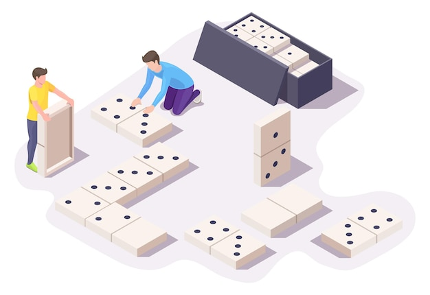 Two boys friends playing dominoes board game sitting on floor, vector isometric illustration. home leisure activities.
