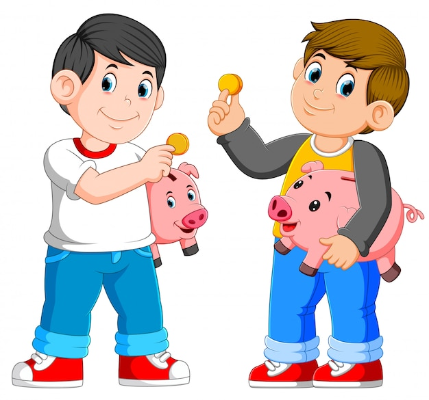 Two boys holding piggy bank