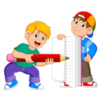 Two boys is holding the big book and the big pencil