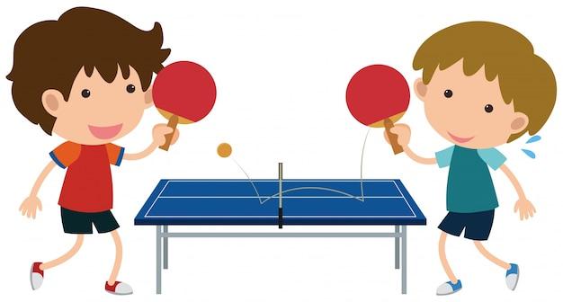 2人の男の子が卓球をしています