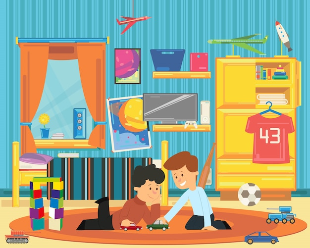 Two boys playing with toys in the playroom.
