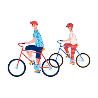 Два мальчика, езда на велосипедах, изолированные на белом.