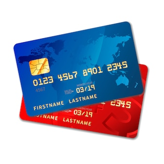 Two bright colourful credit cards with chip on white