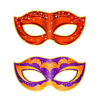 Two bright fancy mask on a white background.