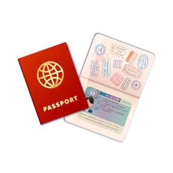 白地にeuビザ付きの2つの明るいパスポート