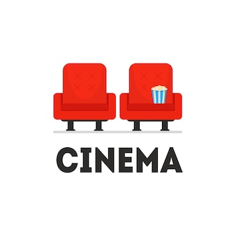 Two bright red cinema armchairs, paper bucket with popcorn on seat. business . film industry. movie theater. entertainment theme. colorful flat  illustration isolated on white background.