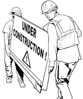 Two building workers carrying wooden board with under construction text