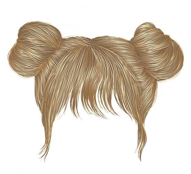 Two buns  hairs with fringe  blond colors . women fashion beauty style .