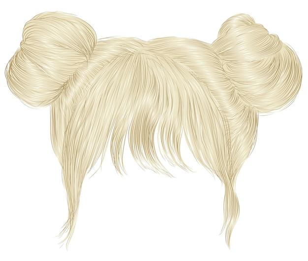Два пучка волос с бахромой светлого цвета.