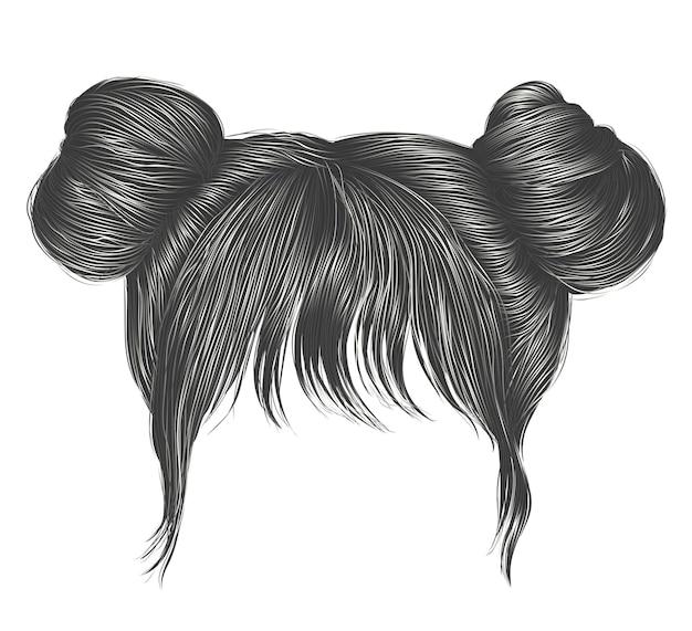 Два пучка волос с бахромой серого цвета. цвета. женщины