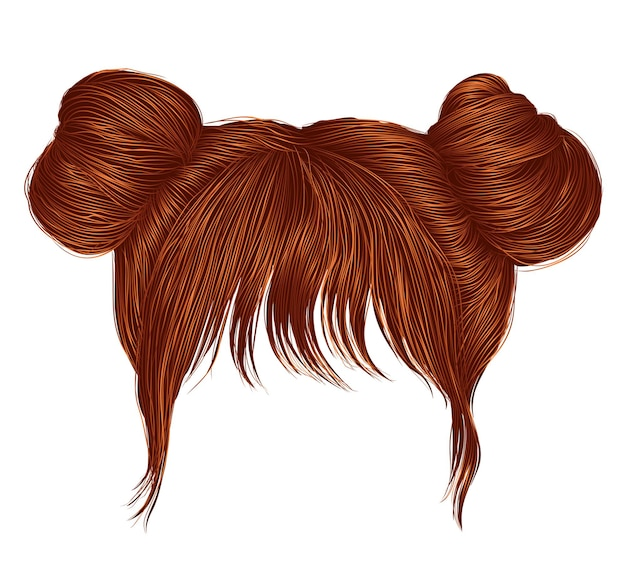 Two buns hairs with fringe red redhead ginger colors.