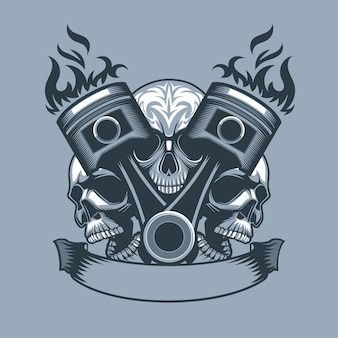 Two burning pistons on three skulls background. monochrome tattoo style.
