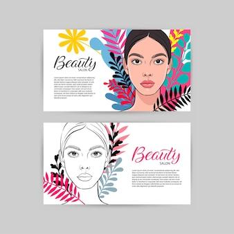 若い魅力的な女性のpartraitと美容院のための2つの名刺。