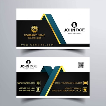 Two business cards with gold ornaments