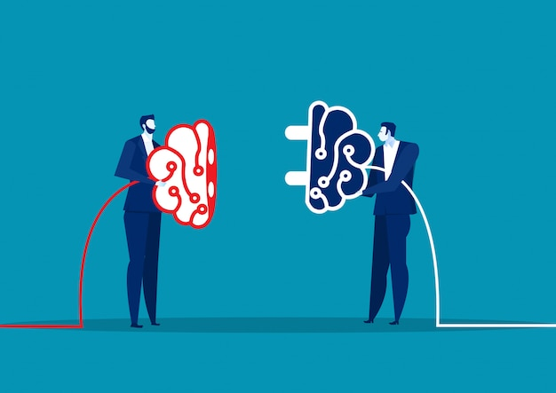 Two business connect plug brain for share idea. concept business.