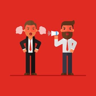 Two business man argument war