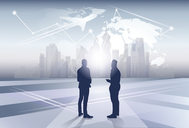 Two business man silhouette businesspeople human resources over world map trip flight concept