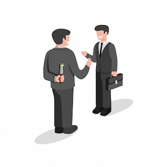 Two business man standing and but first one holding knife behind back to backstab. hiding killer concept in cartoon flat illustration