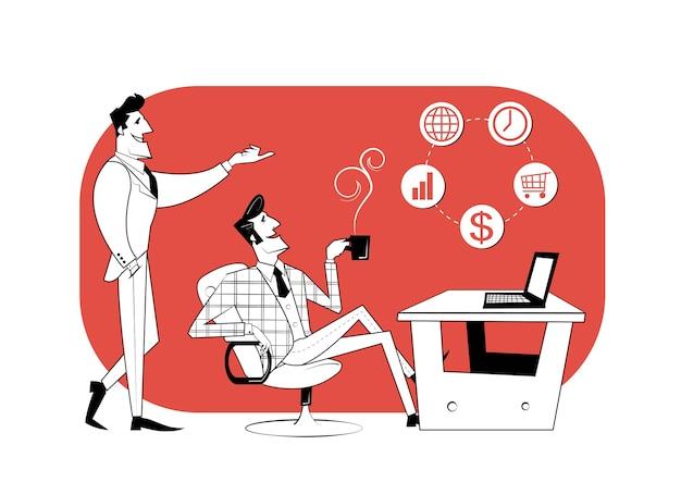 Два деловых партнера обсуждают ход работы.