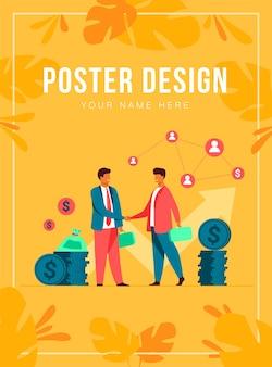 フラットなベクトル図を握手する2つのビジネスパートナー。成功のための合意を締結する漫画のビジネスマン