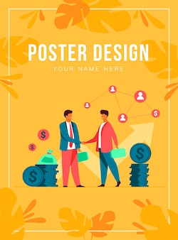 Two business partners handshaking flat vector illustration. cartoon businessmen concluding agreement for success