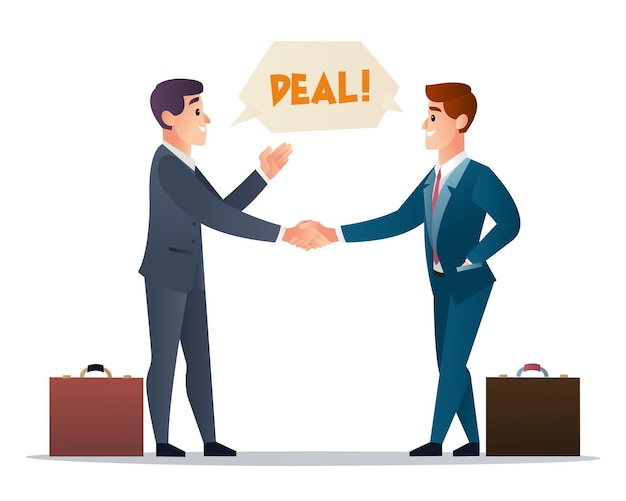 Два деловых партнера, рукопожатие для иллюстрации сотрудничества