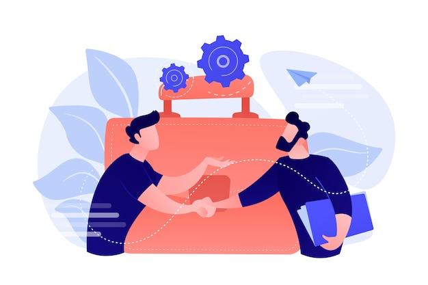 악수와 큰 서류 가방 두 비즈니스 파트너. 파트너십 및 계약, 협력 및 거래 완료 개념 흰색 배경에.