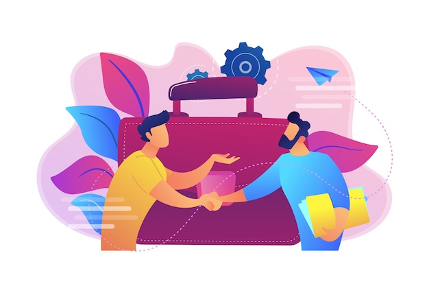 Two business partners shaking hands and big briefcase illustration