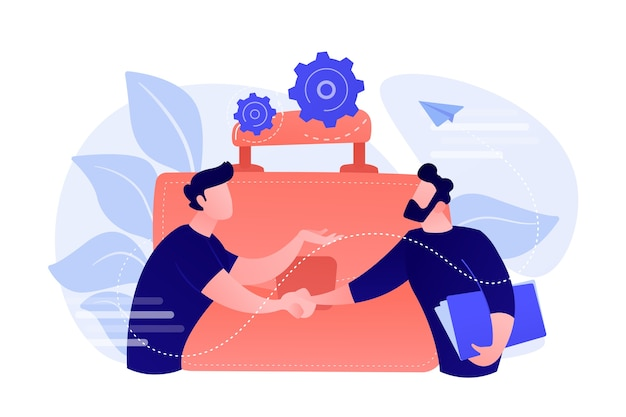 Two business partners shaking hands and big briefcase. partnership and agreement, cooperation and deal completed concept on white background.