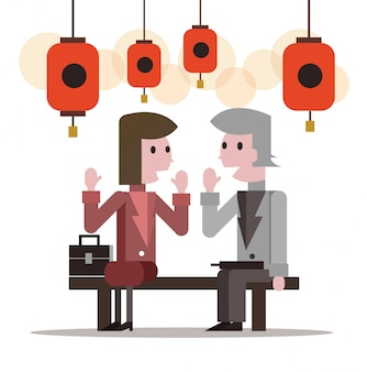 Two business people talking at lantern festival. flat character design. vector illustration