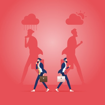 Two business people with shadow in good mood and bad mood-business concept