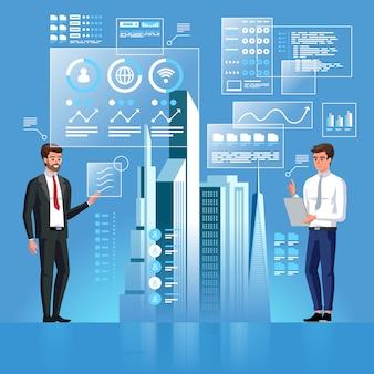 2人のビジネスパーソンが仮想インターフェースを使用してスマートシティのプロジェクトを開発しています。人工知能。