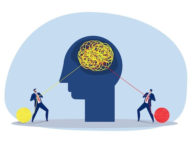 Два бизнеса тянут за запутанную веревку в противоположных направлениях. концепция конкуренции векторные иллюстрации