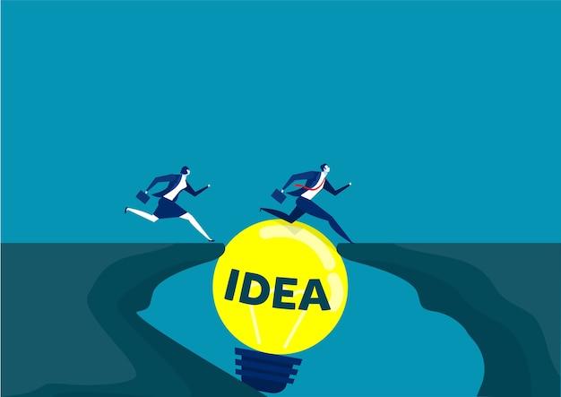 Two business running pass gap between cliffs idea go to success concept