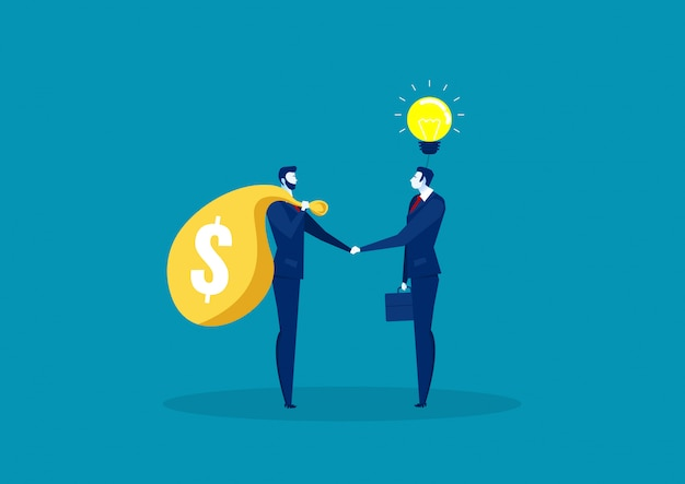 Two business shake hand for trading between idea and capital .
