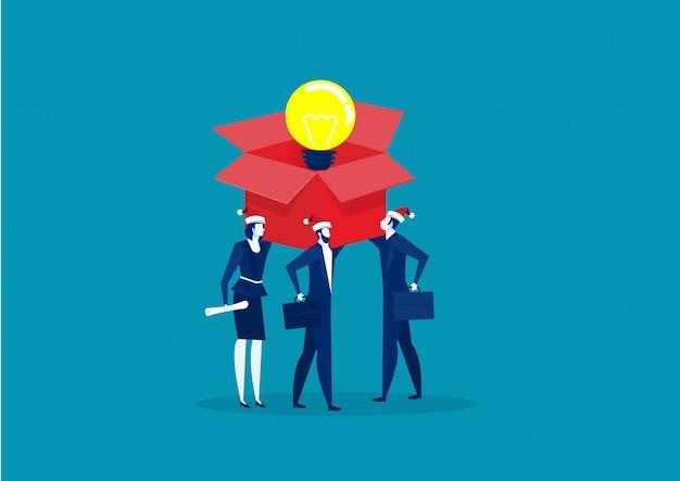 電球の箱を持つ2つのビジネス。イノベーションまたはアイデア生成の概念。ベクター