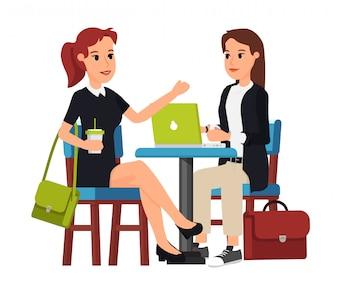 カフェの2人のビジネス・女性