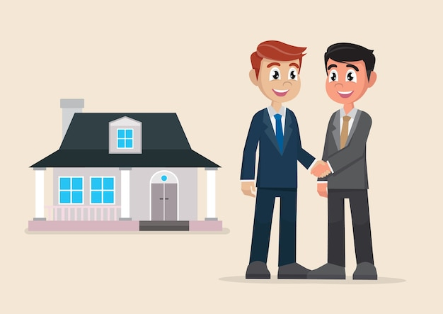 Two businessman handshake deal purchase home.