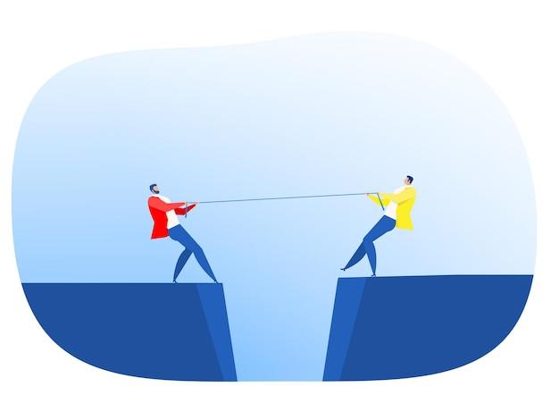 Два бизнесмена в костюме тянут за веревку на краю обрыва, символ соперничества, конкуренции, конфликта вектор иллюстратор перетягивания каната