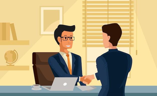 두 사업가가 사무실에서 만나고 악수하여 계약 계약 프로젝트 파트너십 프로젝트