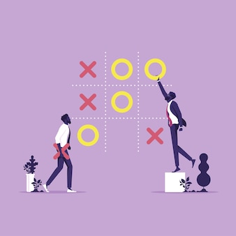 Two businessman play tic tac toe game business strategy decisions and competition concept