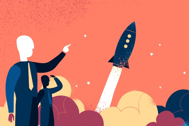 Two businessman pointing to a rocket